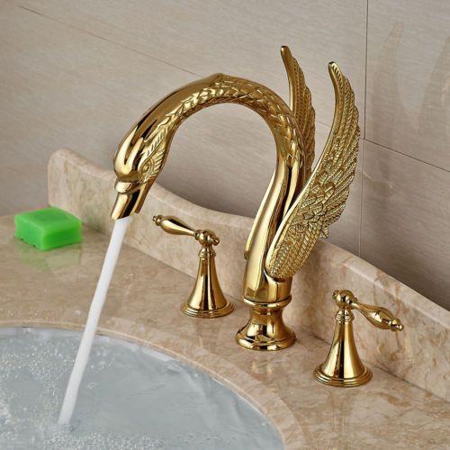 Golden Brass Deck Mounted Swan Basin Faucet Dual Handles Sink Bath