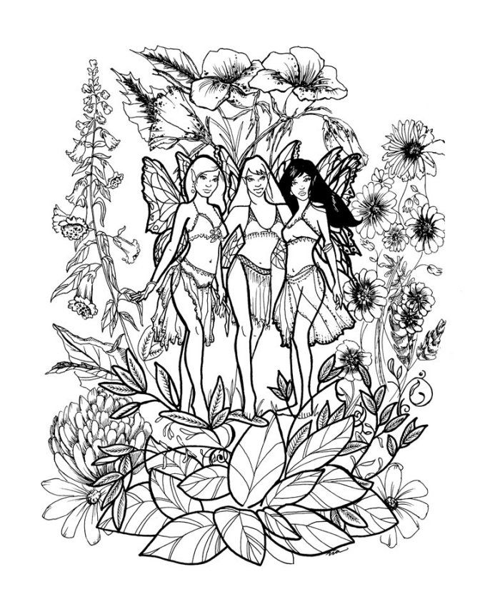 printable complicated coloring pages for adults heres a beautiful coloring page of three fairies