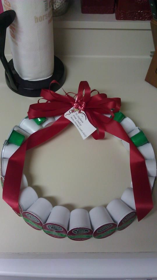 Made a K-Cup wreath for my boss who recently purchased Keurig ...