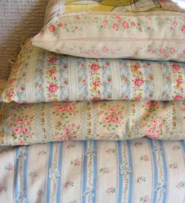vintage floral ticking feather pillows