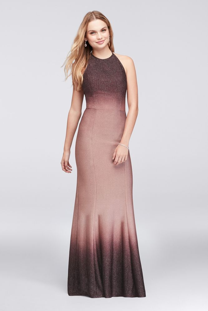 Ombre Glitter Knit Halter Sheath Gown | *Clothing > Dresses* | Pinterest