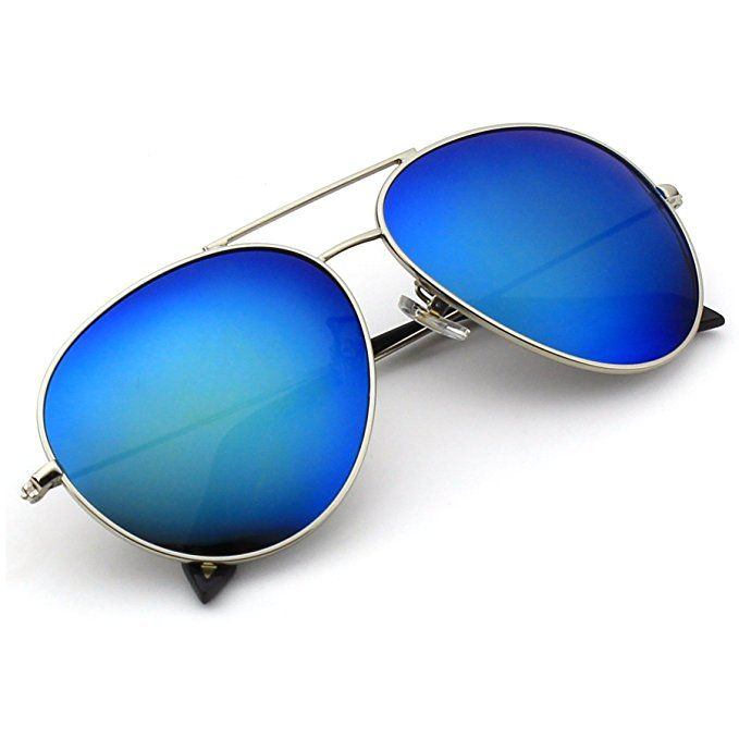 Amazon.com: CGID CM809 Original Classic Metal Standard Aviator Sunglasses w/ Flash Mirror Lens Uv400,Matte Black Blue: Clothing