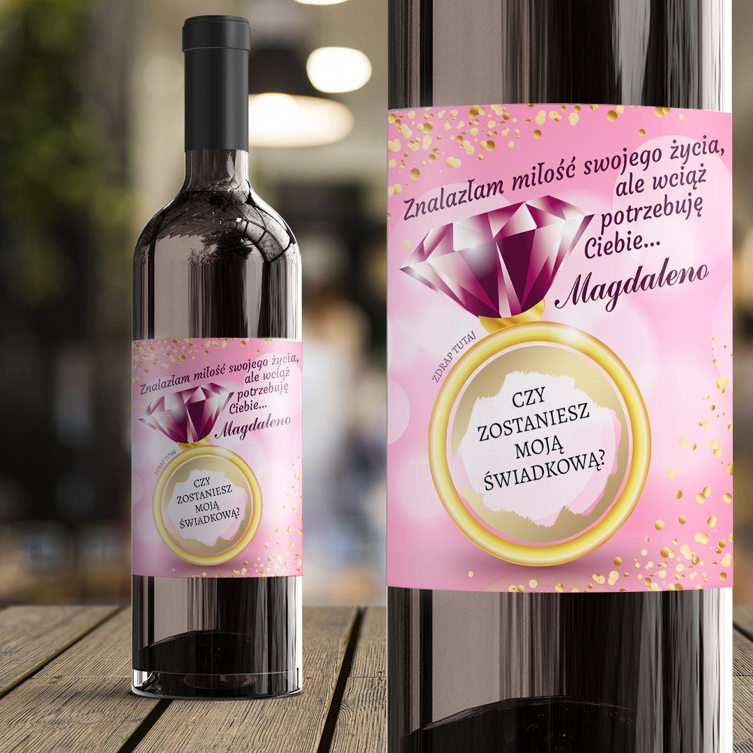 Etykieta Na Wino Ze Zdrapka Pytanie Do Swiadkowej Rozowy Brylant