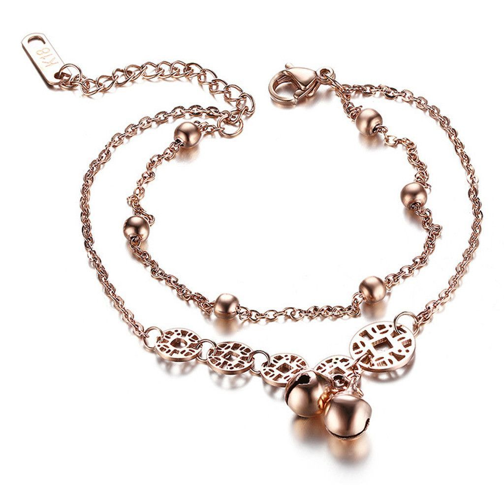 Stainless steel bracelet for women rose gold plated jingle charms