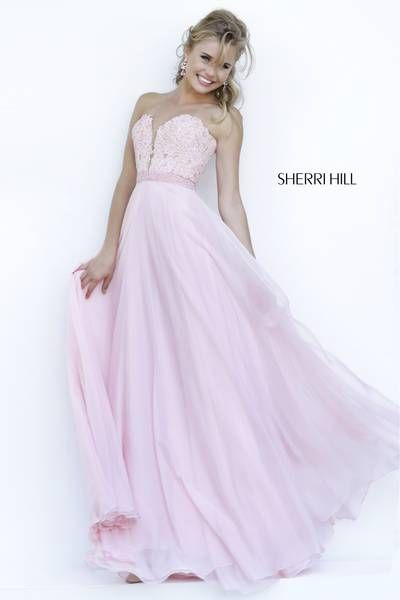 Sherri Hill 32180 Blush Pink Size 10 (NWT) Flowy a-line empire waist chiffon  evening gown with a strapless sweetheart neckline and a beaded lace bodice.