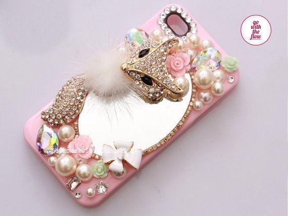 Fox Alloy  Fur Mirror DIY Deco Cabochon  by AiPhoneCases on Etsy, $35.00