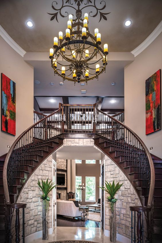 A magnificent, classic Spanish Colonial double staircase ...
