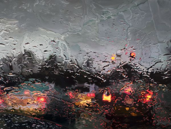 para-brisa em dia de chuva - pintura realista de Gregory Thielker