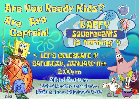 spongebob invitation ,printable party invitations - spongebob, Party invitations