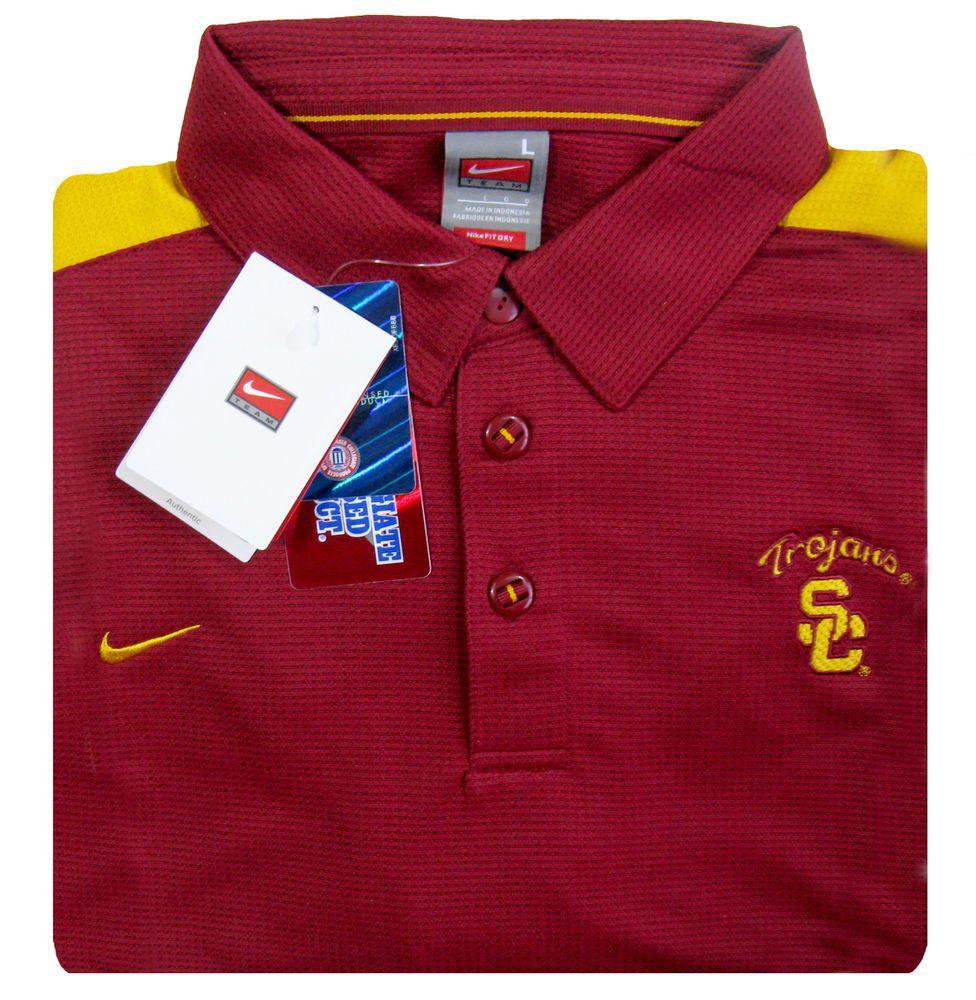 2304000b NIKE Team USC Trojans Mens L Fit Dri S/S Polo Shirt NWT Old Stock $60 MSRP # Nike #USCTrojans