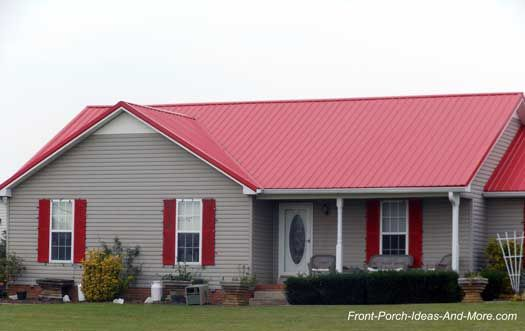 A Metal Porch Roof Adds Immediate Beauty And Value To Your Home Red Roof House Tin Roof House Metal Roof Houses