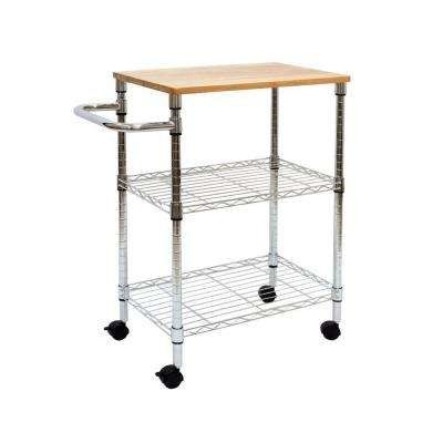 911af8a8820e 3 Tier Kitchen Cart with Rubber-Wood Top-CH Finish   Apartment ...