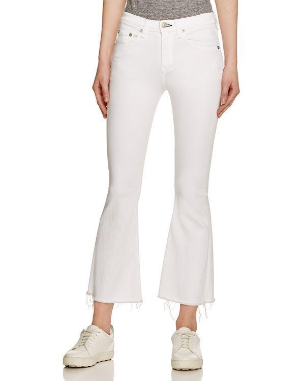 rag & boneJean Crop Flare Jeans in Bright White | Femme