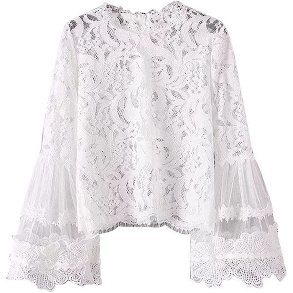 3f880af1e91255 White Flare Sleeve Lace Blouse ($32) ❤ liked on Polyvore featuring tops,  blouses, flared sleeve blouse, lace blouses, white flared sleeve top, lacy  white ...