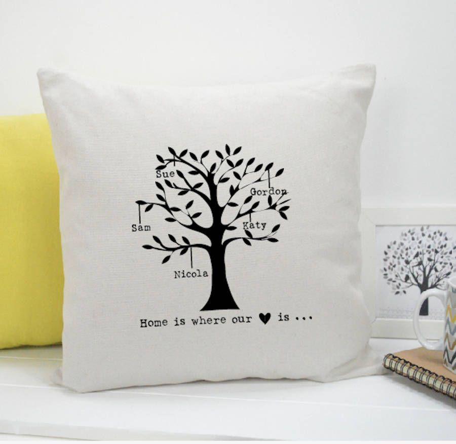PILLOW WORD TREE THROW