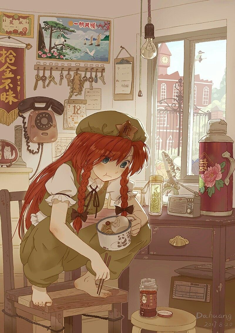 i ve been eating while in a chair wrong my whole life 芸術的アニメ少女 東方 かわいい アニメイラスト