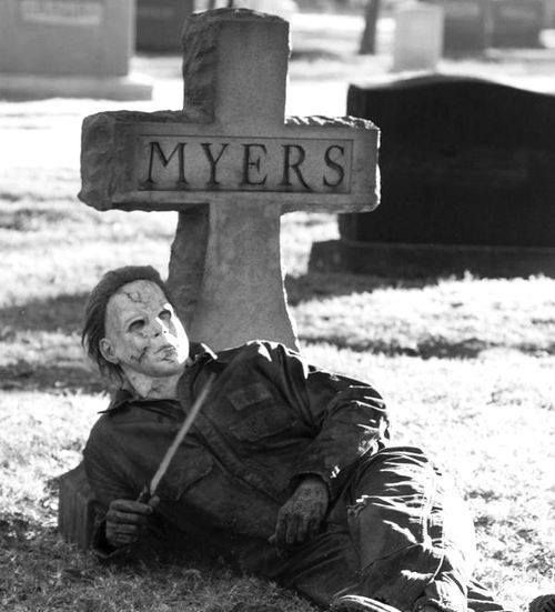 michael myers hanging out in the cemetery grave halloween movie movies horror films - Michael Myers Halloween Decorations