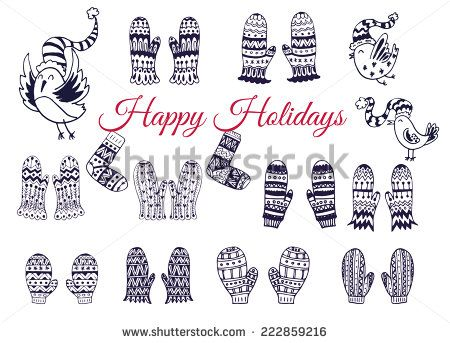 The set of hand drawn vector mittens with geometric and floral pattern. Winter background. The collection of doodle elements for your design.