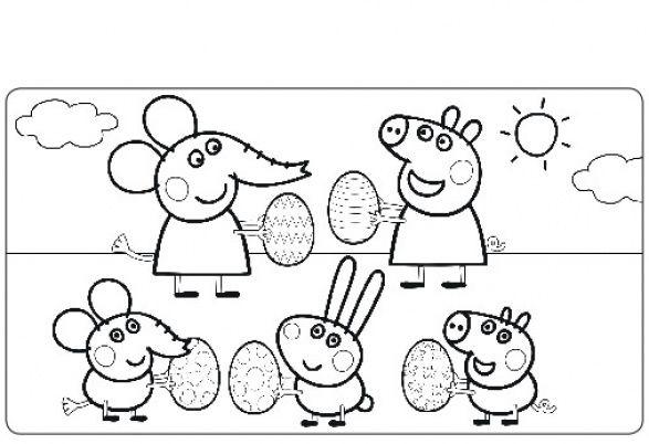 Coloriage Peppa Pig à colorier - Dessin à imprimer ระบายสีเปปป้า - apprendre a dessiner une maison