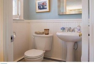 Barclay Hartford Pedestal Sink.Cottage Powder Room With Wainscotting High Ceiling Barclay 3 314