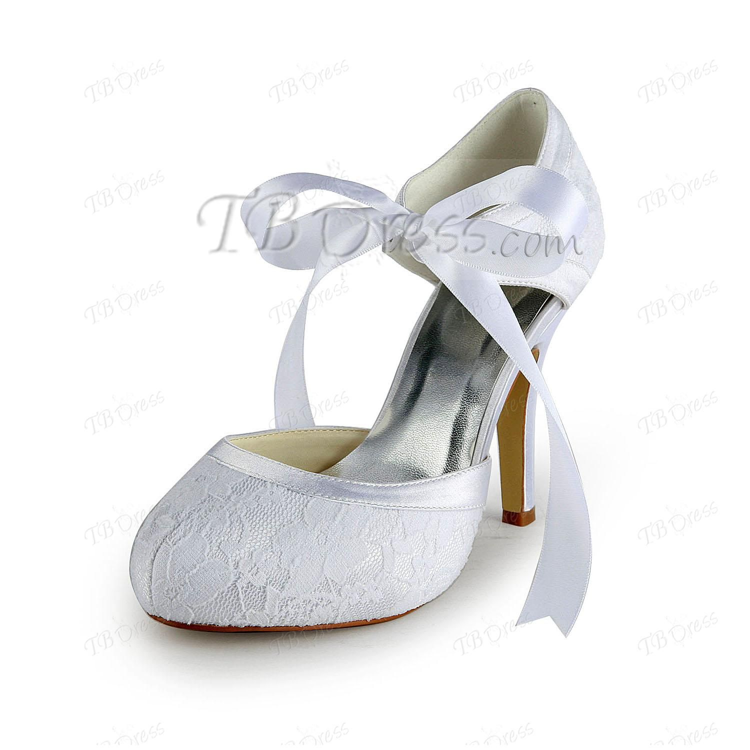 New Stiletto Heels Closed-toe Lace Wedding Shoes