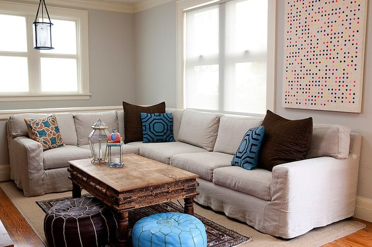 homey ideas modular coffee table. Comfy  cozy family room design with soft sky blue walls paint color oatmeal linen