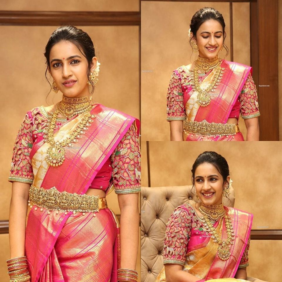 Niharika Konidela in pink kanjeevaram saree for jewelery