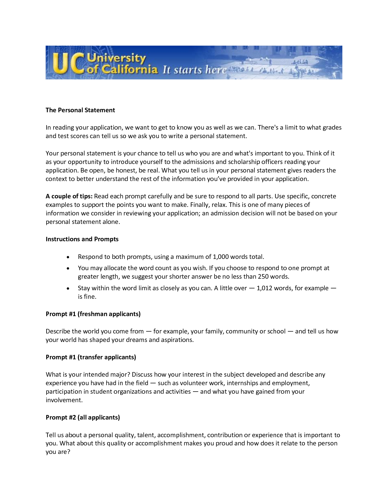 Uc Personal Statement Help  Personal Statement