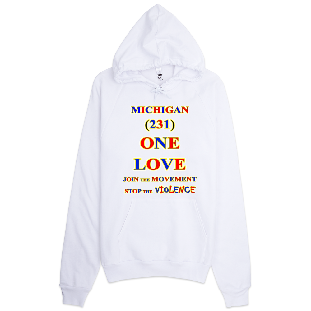 MICHIGAN Area Code ONE LOVE HOODIE Products - Michigan area codes