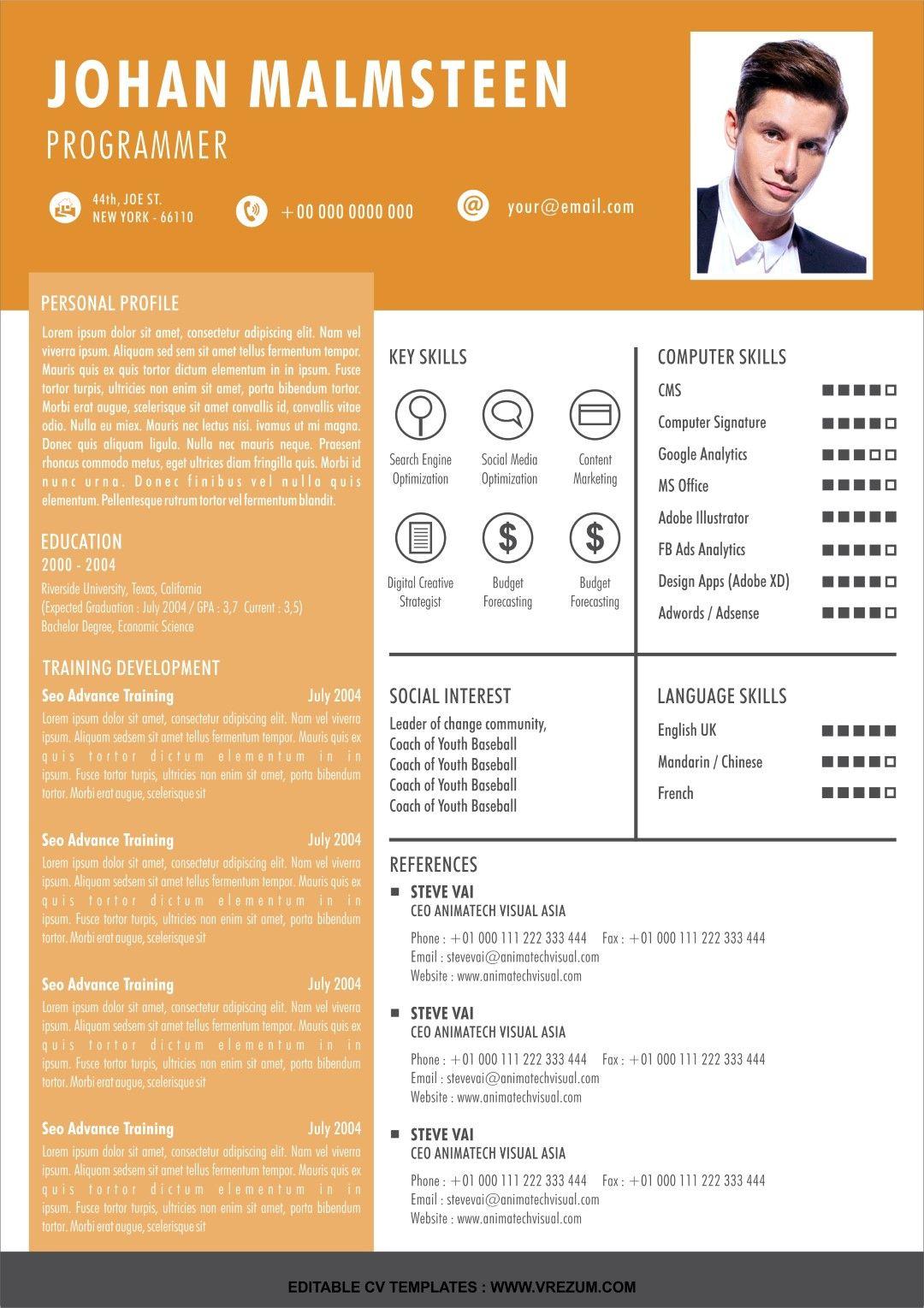 (EDITABLE) FREE CV Templates For Programmer in 2020 Cv
