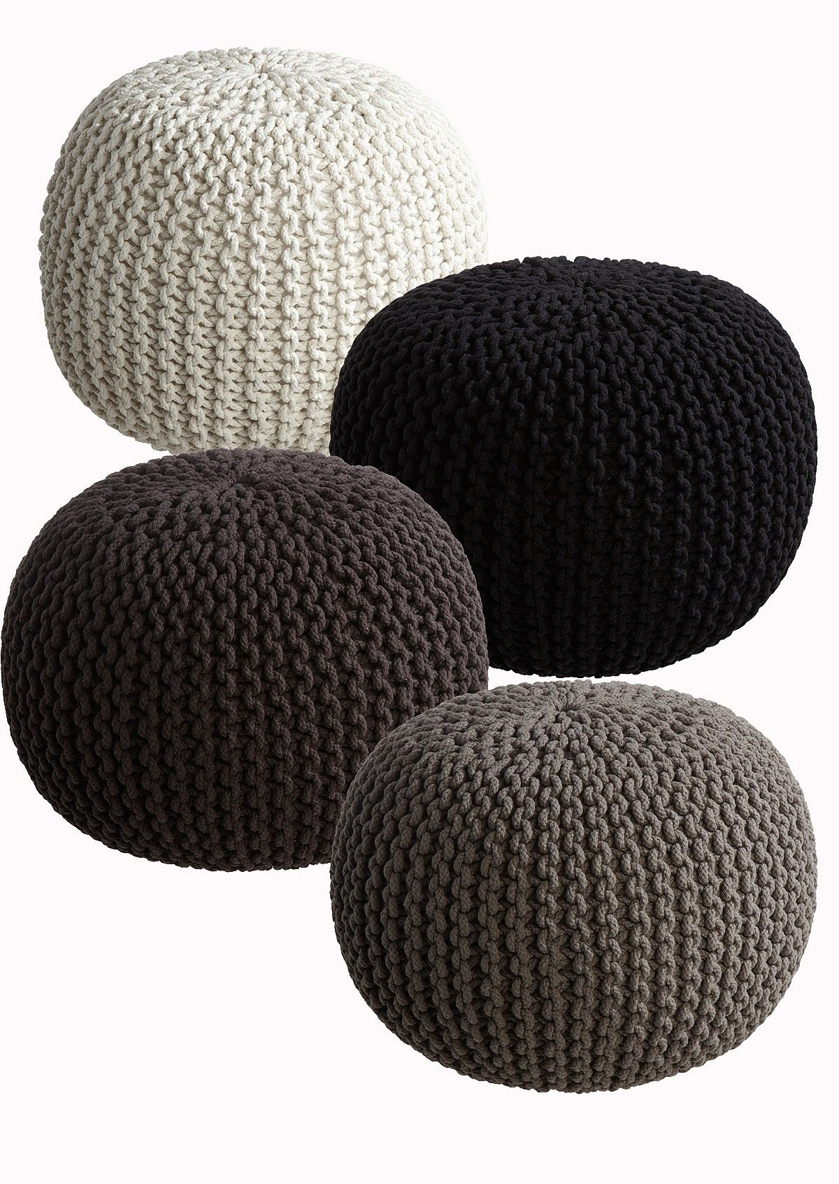 Footstool made out of rope. Black or white for the living room pls