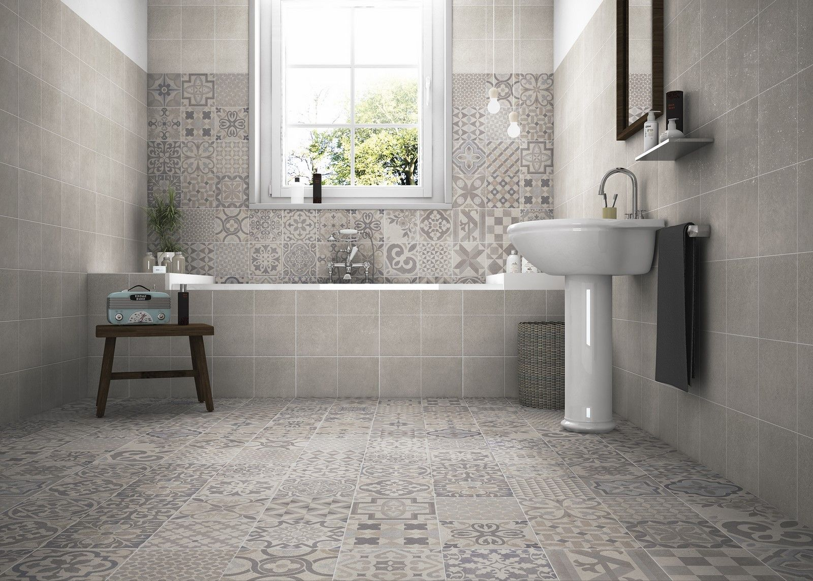 Images On Contemporary interpretation expanding the geometric and retro detailing Bathroom floor and wall tiles Skyros Delft Grey