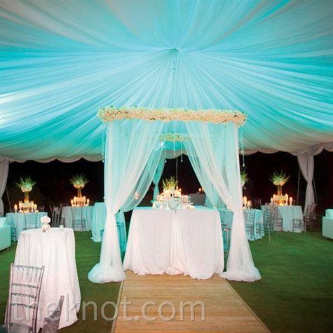 Wedding Reception Aqua Blue Turquoise Lighting Effect Wedding
