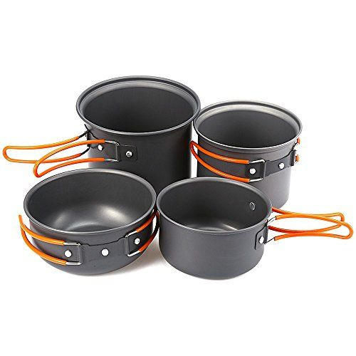 Camping Cookware Set Cooking Pot Fishing Easy Clean Survival Wood Stove Portable