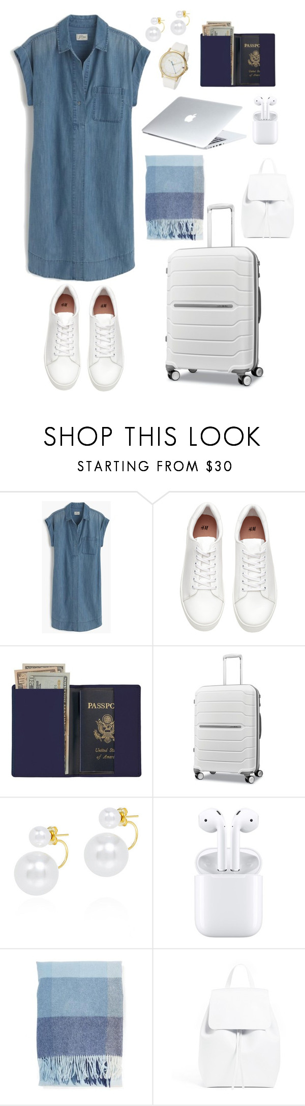 """""""airport fashion"""" by yoo6132 ❤ liked on Polyvore featuring J.Crew, H&M, Royce Leather, Samsonite, Fallon, Dyson and Tommy Hilfiger"""