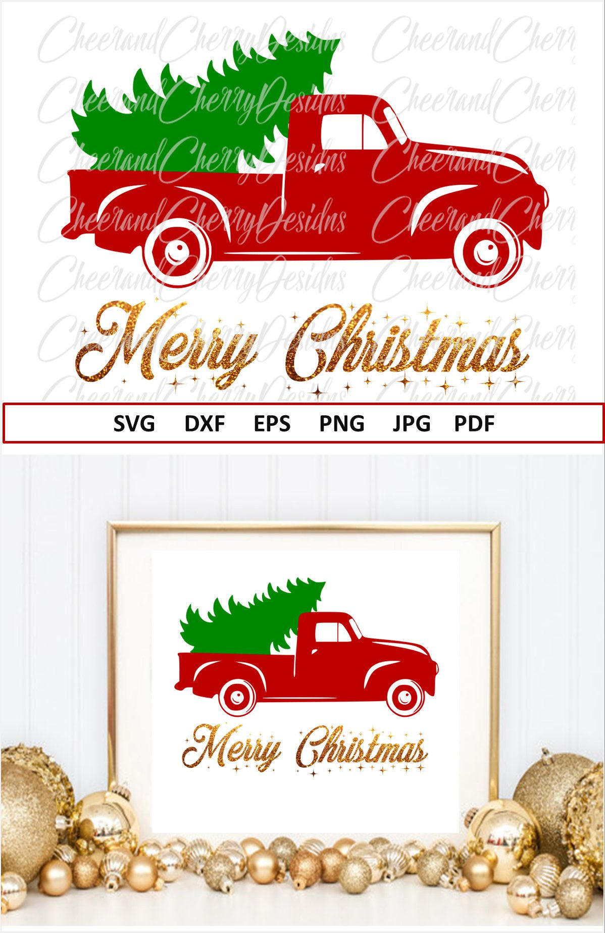 Red truck Svg Eps Dxf Merry Christmas SVG for Christmas