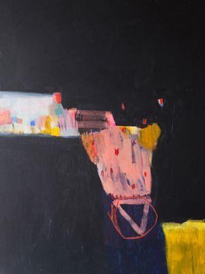 Whiff of Saga Lola Donoghue abstract painting black colorful