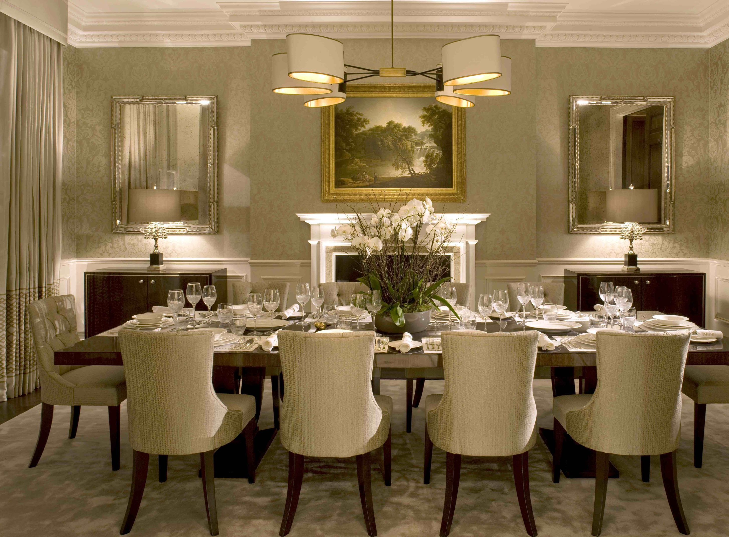 Luxury Dining Room Beautiful Lighting Design In Beige Tones