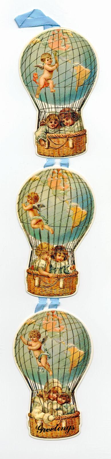 Liebe Grüße Aus Dem Heißluftballon Außergewöhnliche 3STUFIGE Karte Blaues Band | eBay