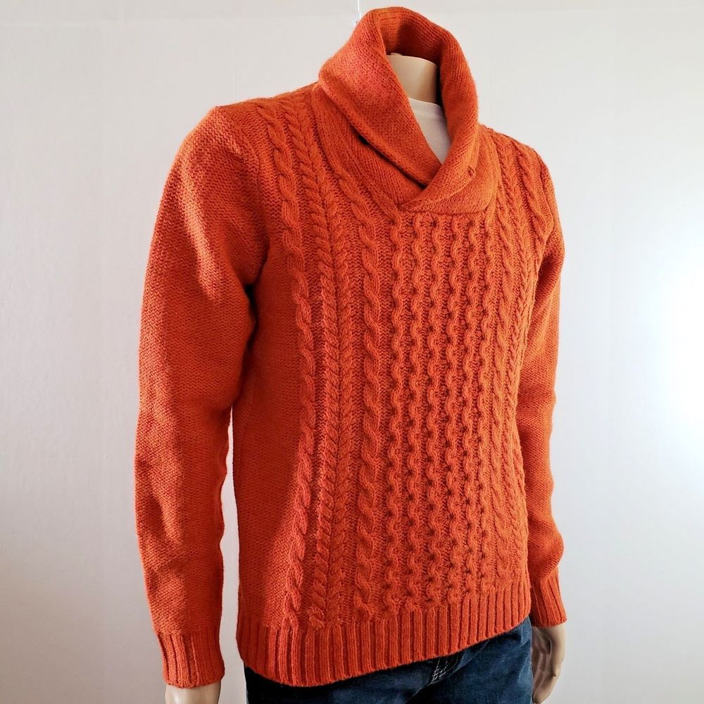 52dd43323ce H&M Mens Cable Knit Sweater Shawl Style Collar Orange Small #HM ...