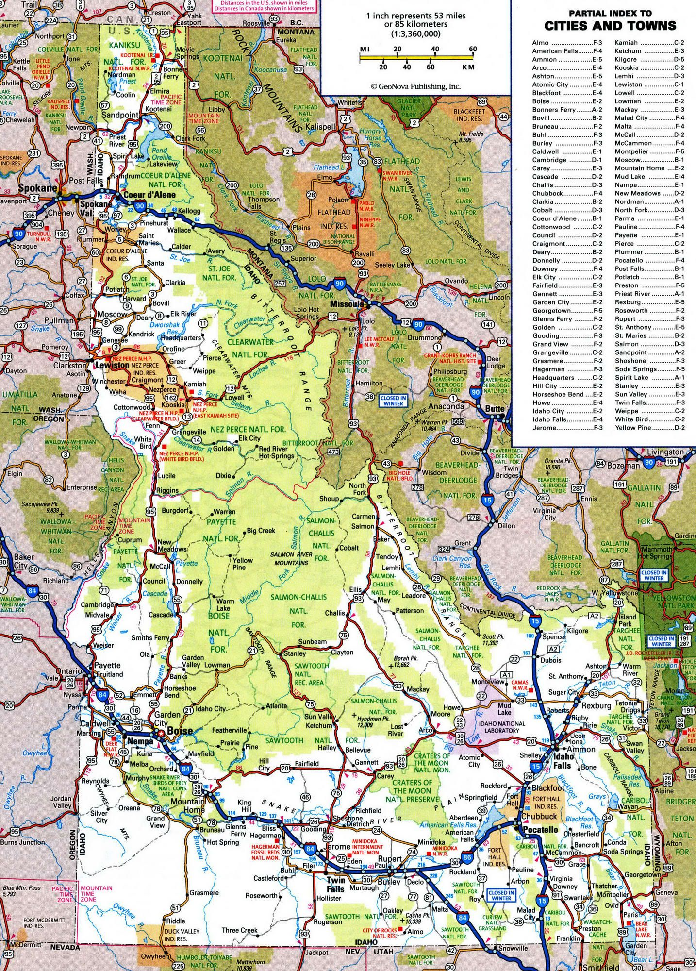 Road map of IdahoFree maps of US. | Travel,US,7,Wyo,Mntna,Idaho | Us ...