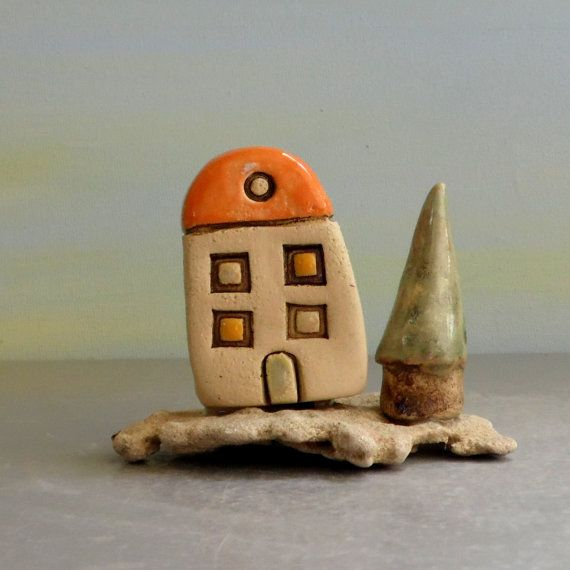 Little House Home Sweet Home Sculpture Of Clay House Etsy In 2021 Painted Cottage Little House Clay Houses