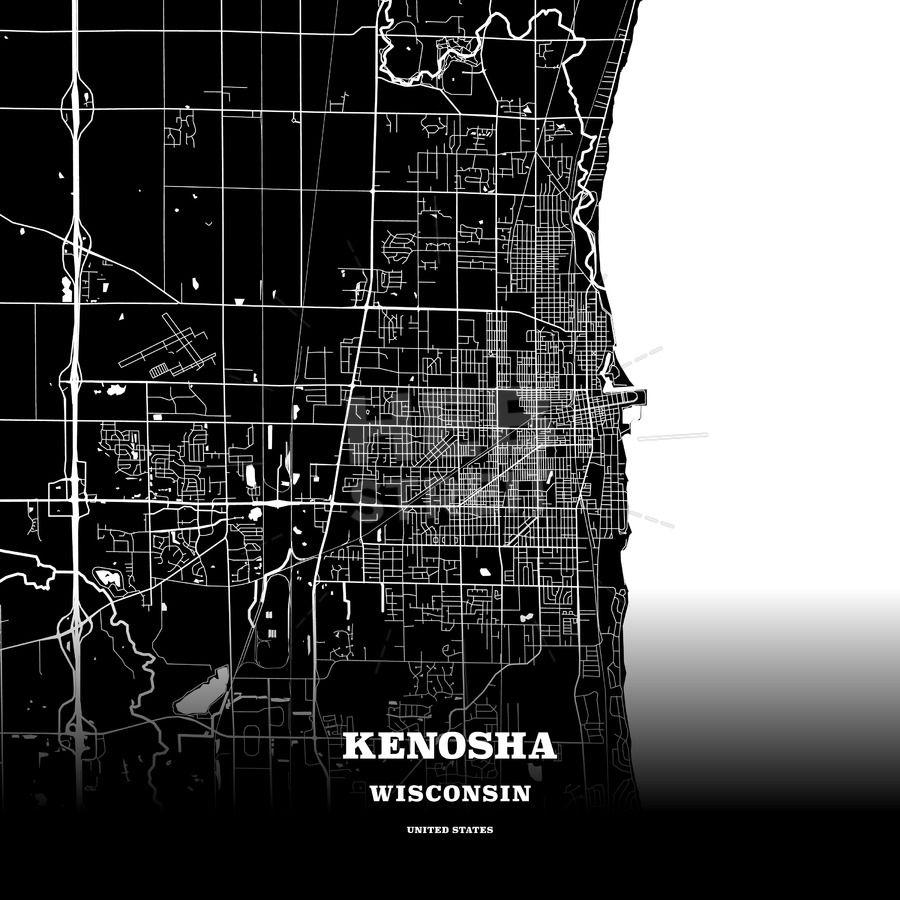 Black map poster template of Kenosha, Wisconsin, USA | Maps Vector on