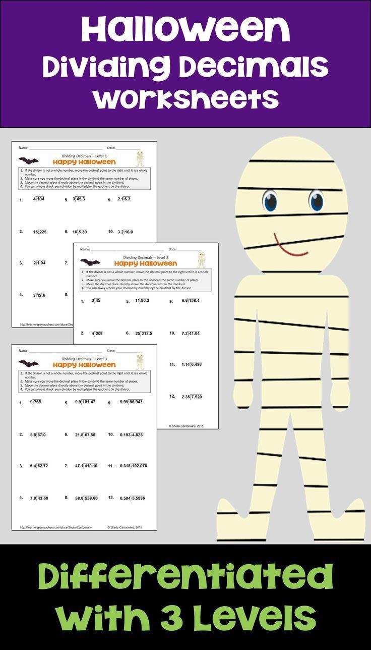 Halloween Math Dividing Decimals Differentiated Worksheets ...