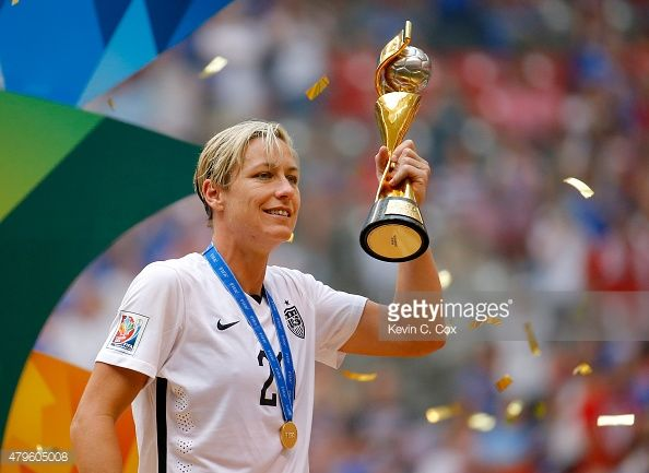 Abby Wambach #20 of the United States of America holds the World Cup Trophy after their 5-2 over Japan in the FIFA Women's World Cup Canada 2015 Final at BC Place Stadium on July 5, 2015 in Vancouver, Canada.
