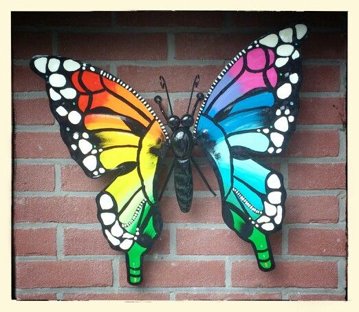 Special edition vlinder Rainbow butterfly tuindecoratie vlinder Www.creativeartbyjessica.nl