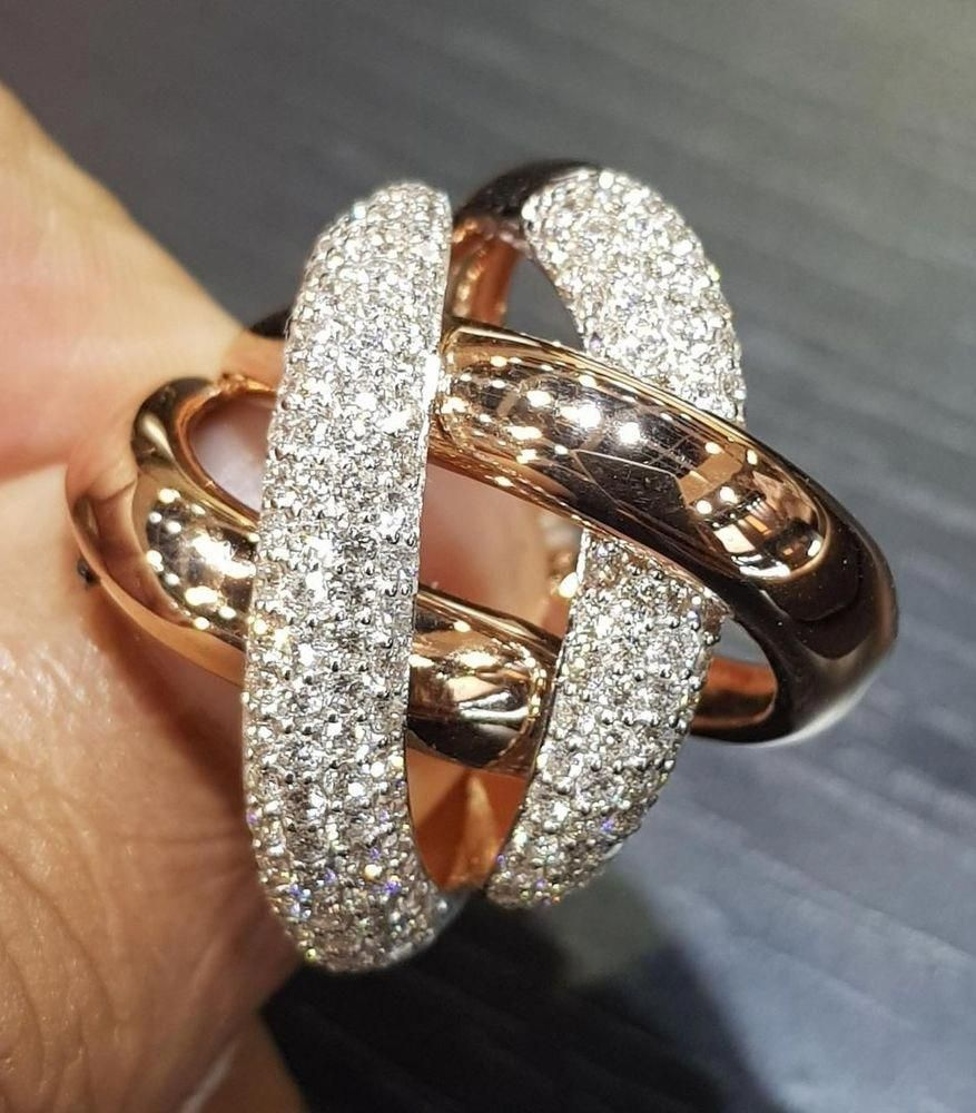 Yellow Gold Plated Twisted Pave Set Cocktail Party Ring