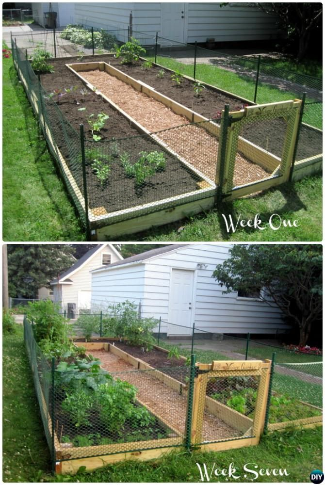 DIY U Shaped Raised Garden with Fence-20 DIY Raised Garden Bed Ideas ...