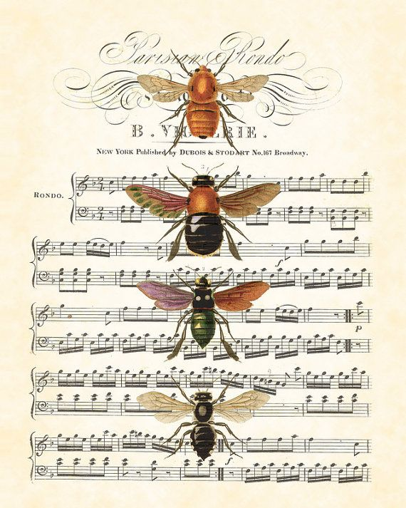 Vintage Bees on sheet music.