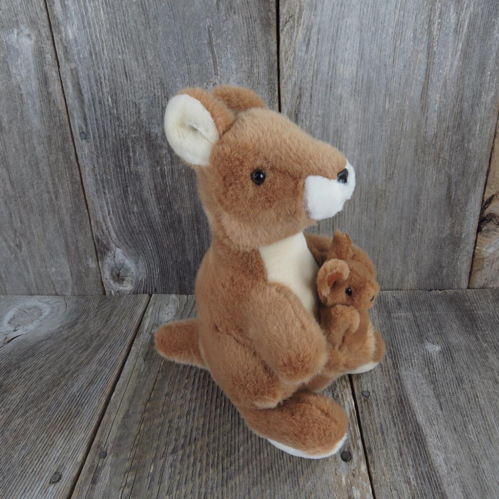 Vintage Kangaroo With Joey Plush Russ Berrie UK Congo-Roo
